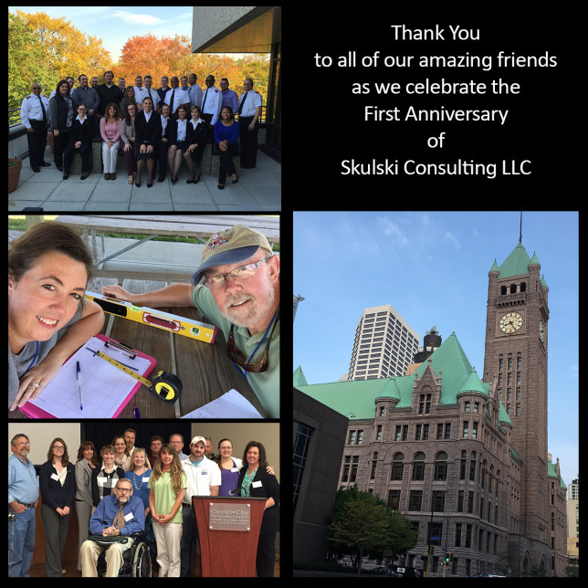"collage reads ""Thank you to all of our amazing  friends as we celebrate the first anniversary of Skulski Consulting"